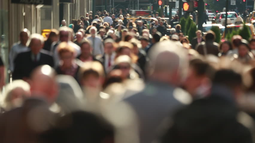 Anonymous crowd of people walking on New York City street slow motion | Shutterstock Video #4974791
