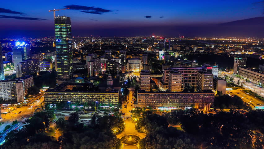 Time lapse of Warsaw, Poland cityscape at night.
