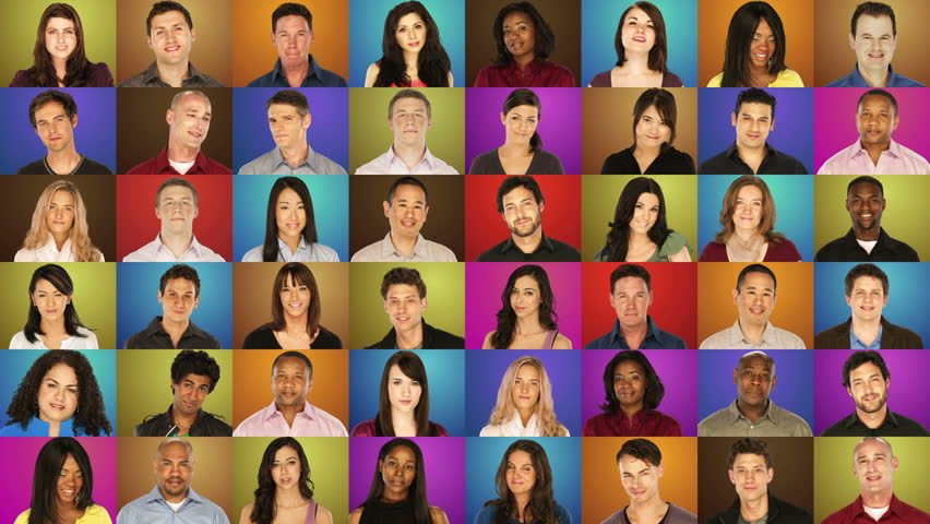 Grid of portraits - diverse people on colorful backgrounds - sliding rows from left to right | Shutterstock HD Video #4979417