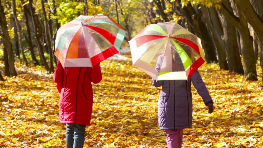 Teen girls with colorful umbrellas walking away through the golden forest