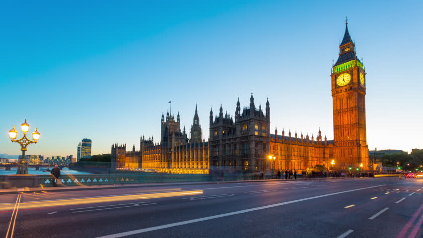 Time lapse footage of the rush hour evening traffic on Westminster Bridge in London with Houses of Parliament and Big Ben in the background., London, United Kingdom  | Shutterstock HD Video #5017460