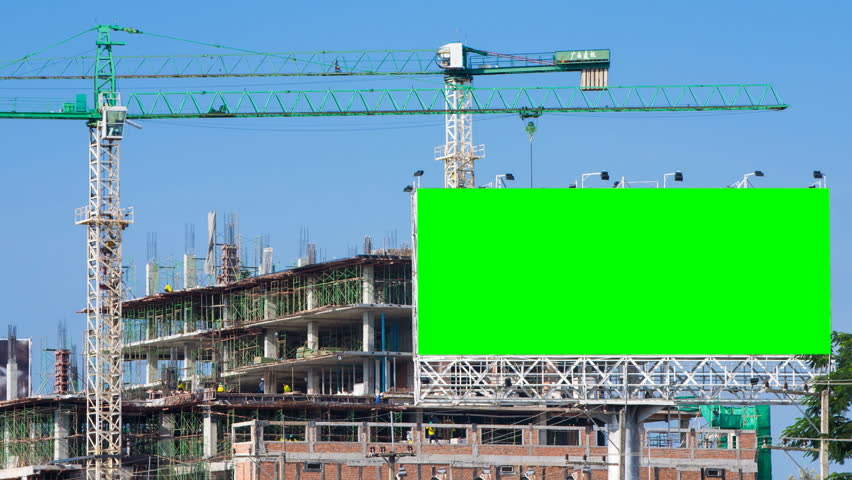 time lapse construction site and big billboard green color