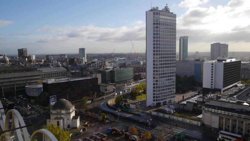 Birmingham city centre skyline. Wide angle shot of the towers, office blocks and hotels of Birmingham's city centre