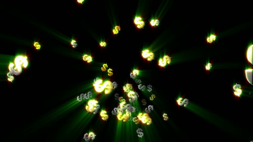 Gold Green Dollar Sign Cascading Abstract Background