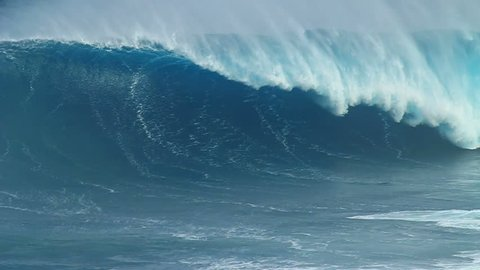 Slow Motion: Beautiful Blue Giant Ocean Wave Crashing