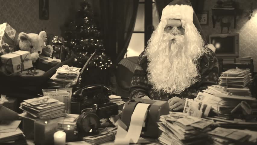 Santa Claus has problems with budget Christmas retro style