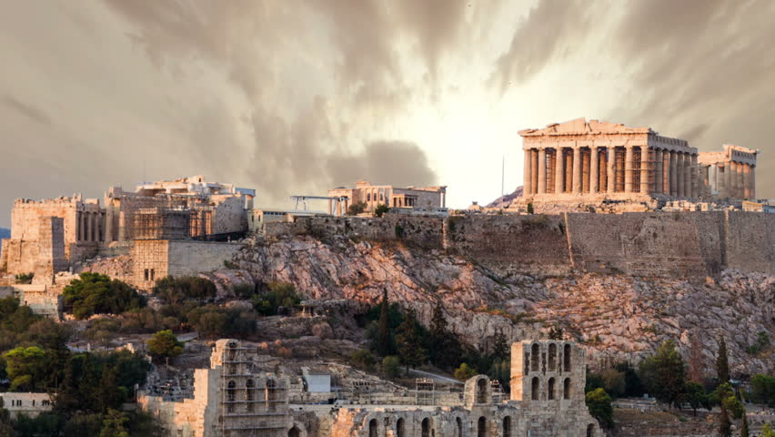 Parthenon temple on Athenian Acropolis, Athens, Greece - timelapse
