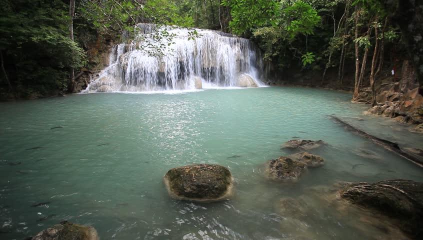 Deep forest waterfall in Thailand (Erawan Waterfall)