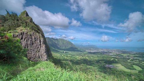 4K UHD Hawaii, Oahu, Pali Lookout overlook island weather, jungle time lapse