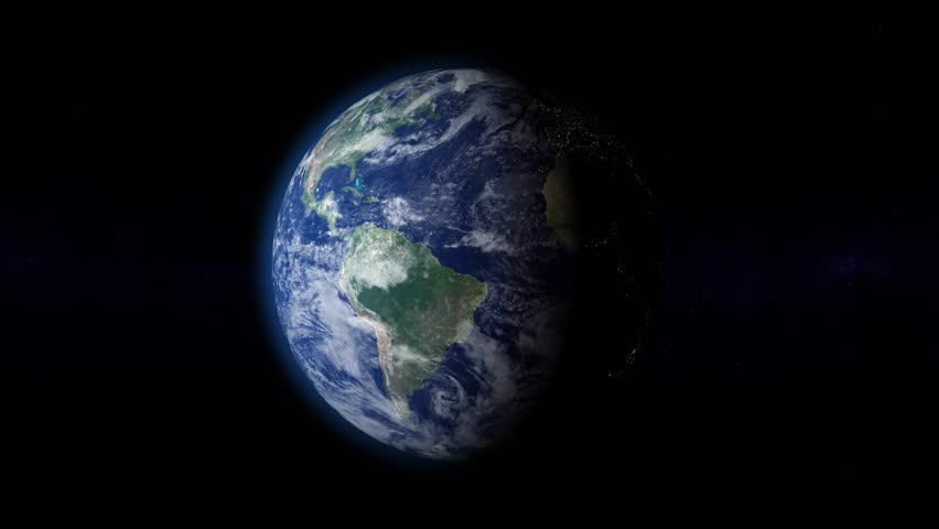 Planet Earth rotates on starfield background. There are also moving clouds, atmosphere and night lights.  | Shutterstock HD Video #5217917