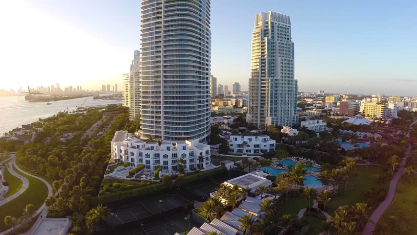 Aerial footage of the Continuum Condominium Miami Beach