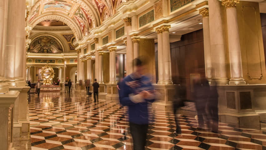 Inside the Venetian Hotel Las Vegas main entrance cathedral hallway in time lapse