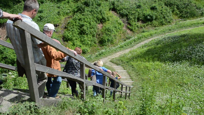 People Tourists Descends Down From Mound Hill On Wooden Stairs In National  Park Circa June In