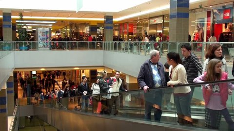 ROME, ITALY - April 29, 2012: People walking in a shopping centre in the north area of the city