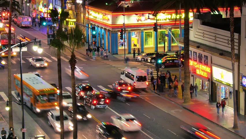 LOS ANGELES - DECEMBER 13:  (Timelapse View) Hollywood Blvd. and Highland Ave. intersection on December 13, 2013 in Los Angeles, California. Hollywood is an international tourist attraction in LA.