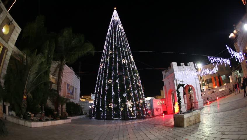 Christmas Tree In Nazareth, Israel, Near The Greek Orthodox Church ...