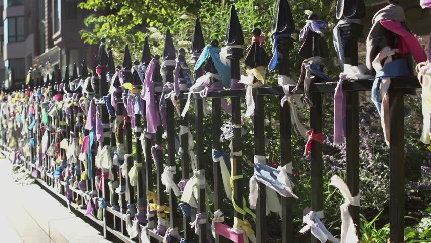 Arlington Street Church fence with Marathon bombing memorial