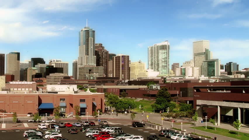Skyline of Denver, Colorado, from the Auraria campus. HD 1080p time lapse.