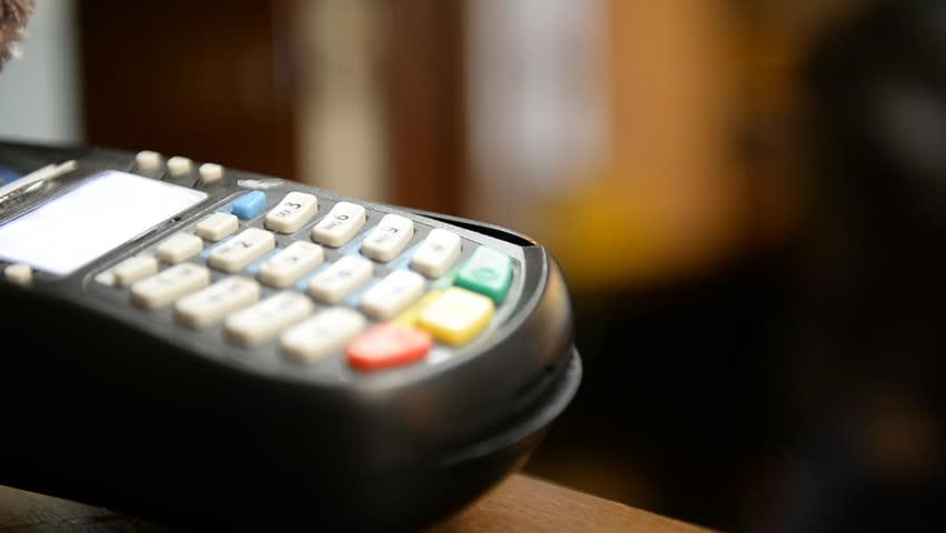Credit card payment terminal.