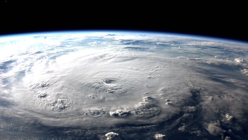 Large hurricane making landfall. (Elements furnished by NASA)