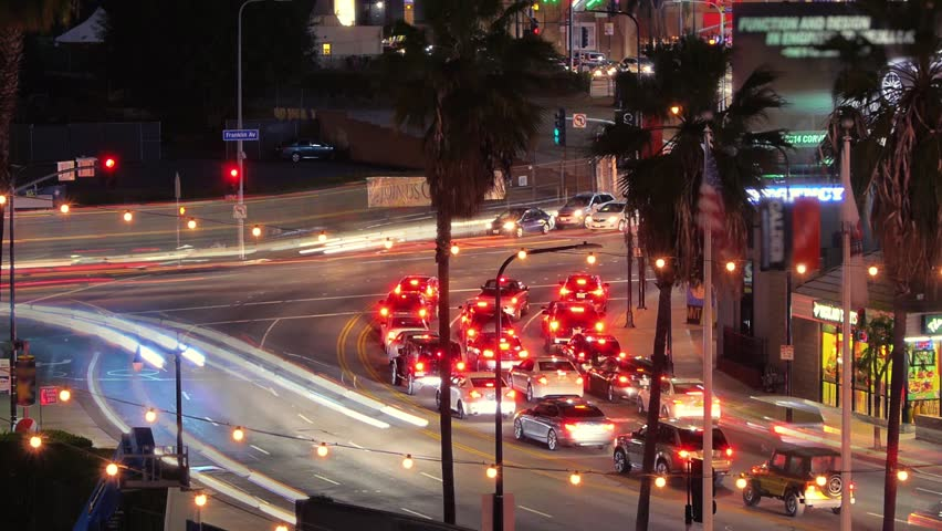 Flow of energy. Night traffic in Hollywood. Intersection of Highland Ave. and Franklin Ave. Los Angeles, California. | Shutterstock HD Video #5327099