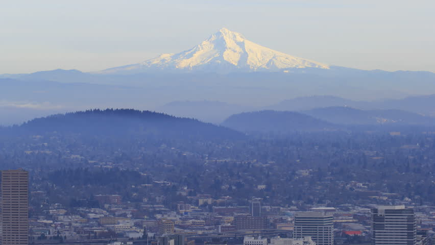 Portland OR Downtown Cityscape with Mount Hood at Sunset with Rolling Fog Timelapse 1920x1080