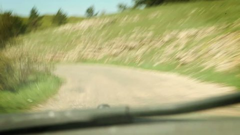 Rally Racing car inside windshield view pov