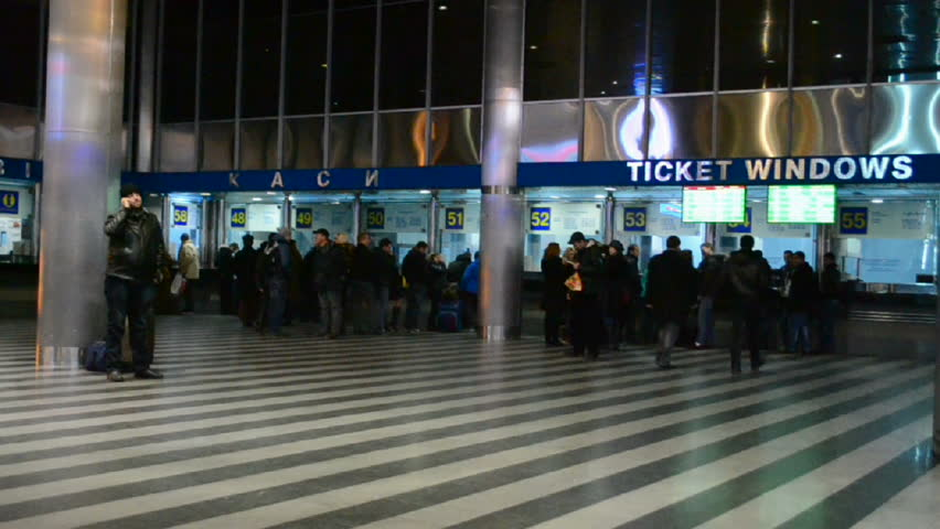 KIEV - DECEMBER 22, 2013: Kiev Central Railway Station in Kiev,Ukraine. 1st Railway Station opened in Kiev in 1868-1870 (project by architect Vishnevsky). Now it serves more 170000 passengers daily.