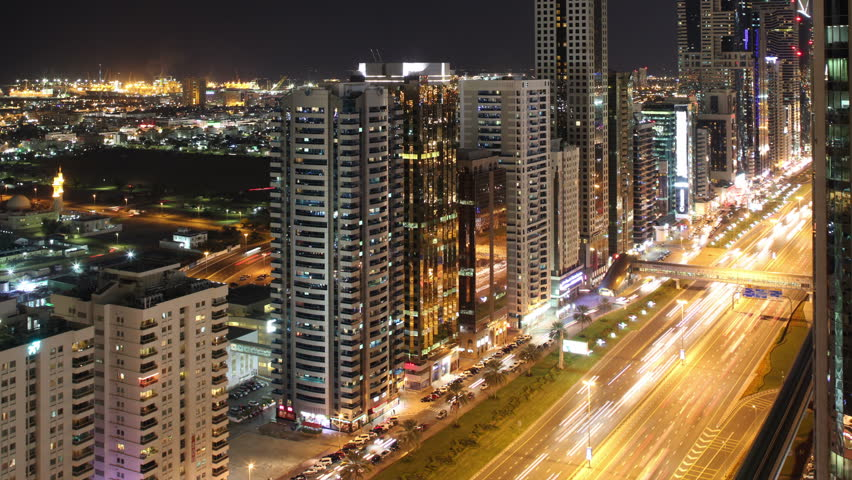 View from the roof on high light traffic road in dubai city | Shutterstock HD Video #5367656