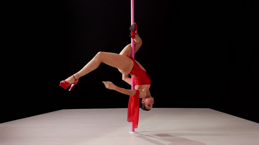 Girl dancing lap dance, beautiful woman doing pole dance, female dancer, fitness and sport. Slow motion, 1of8