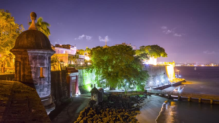 San Juan, Puerto Rico night time time lapse at the city walls.