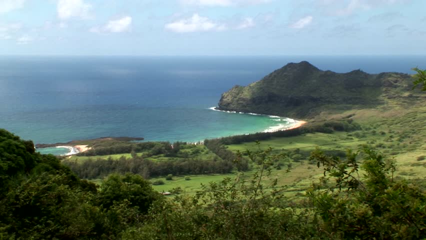 Panorama of Kipu Kai Beach, Kauai, filming location of many motion pictures