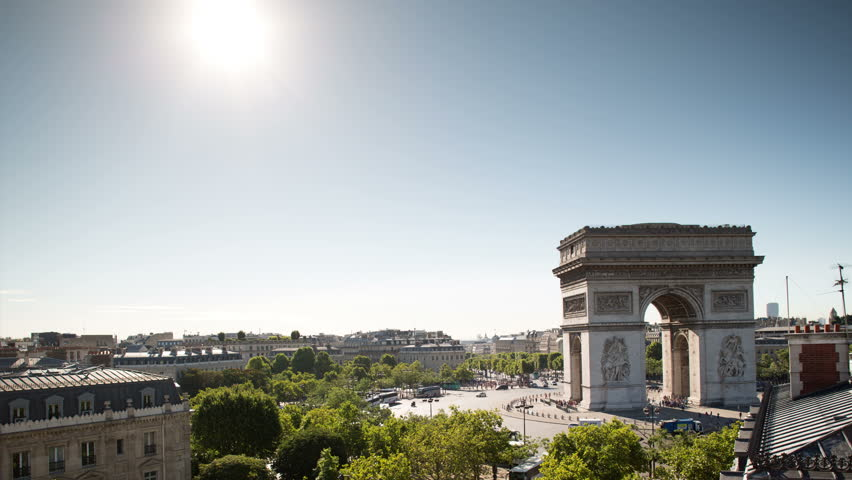 4k a panning timelapse of the arc de triomphe, one of the most famous monuments in paris. super high quality, 4k resolution (4096x2304). | Shutterstock HD Video #5398937