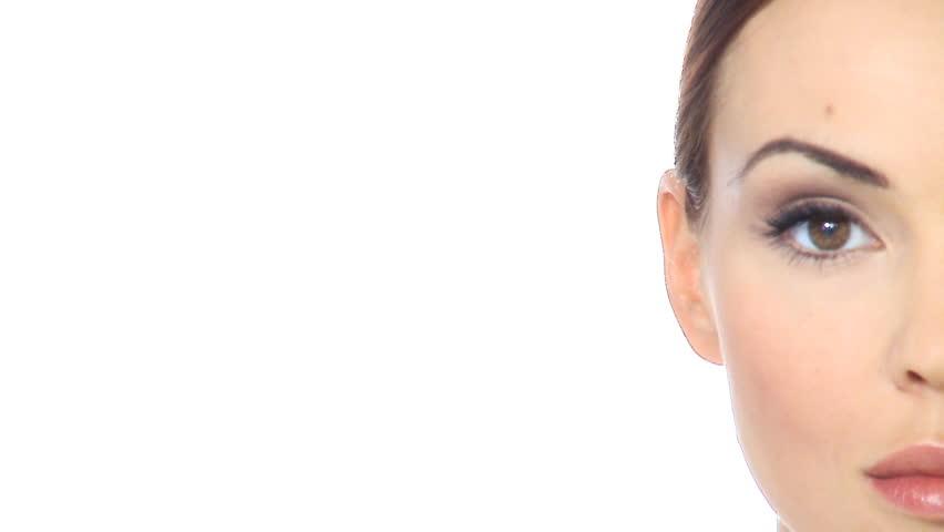 Half face portrait of beautiful woman