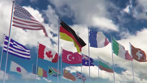 Flags of different nations, HQ animated on an epic background