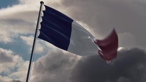 France Flag, HQ animated on an epic background, doomy