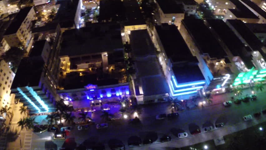 Aerial Footage Of Ocean Drive In Miami Beach Florida At Night Stock Video 5435987