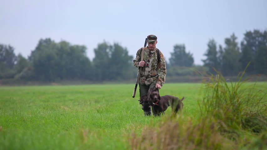 Hunter with German Shorthaired Pointer on the hunting trail