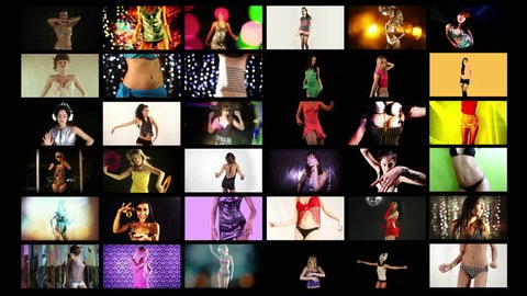 a video wall of HD screens made up from different disco and sexy club dancers. All content is from my own collection and model released. 4k version at 4096x2304 pixels