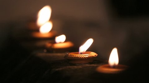 Beautiful oil candles at night