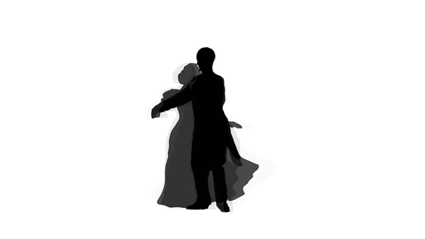 Silhouettes of the man and the woman who dance a waltz on a white background