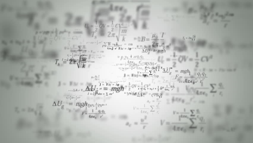 Animated background with flying formulas and equations