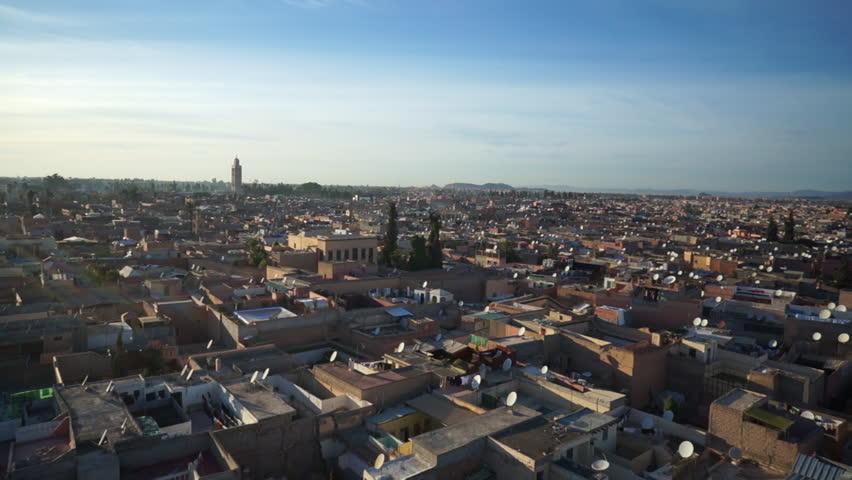 WS POV View of cityscape in Marrakesh, Morocco