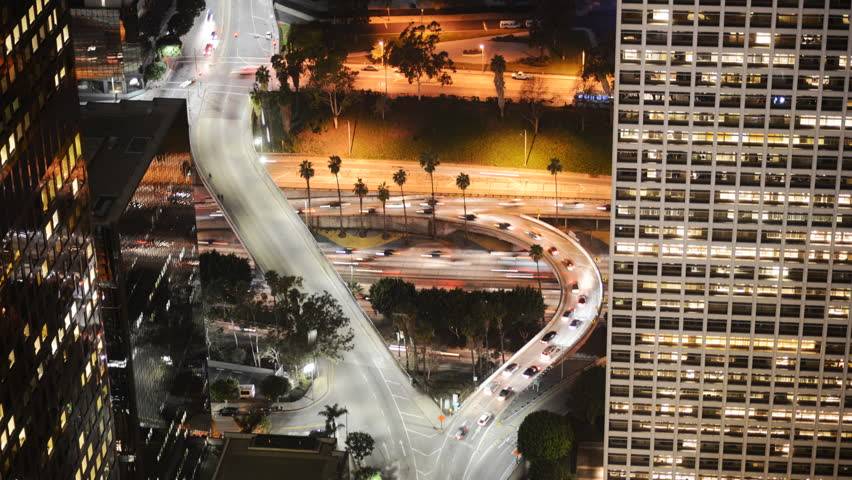 Time Lapse of Busy Freeway Ramp in Downtown Los Angeles during Rush Hour -Zoom In-