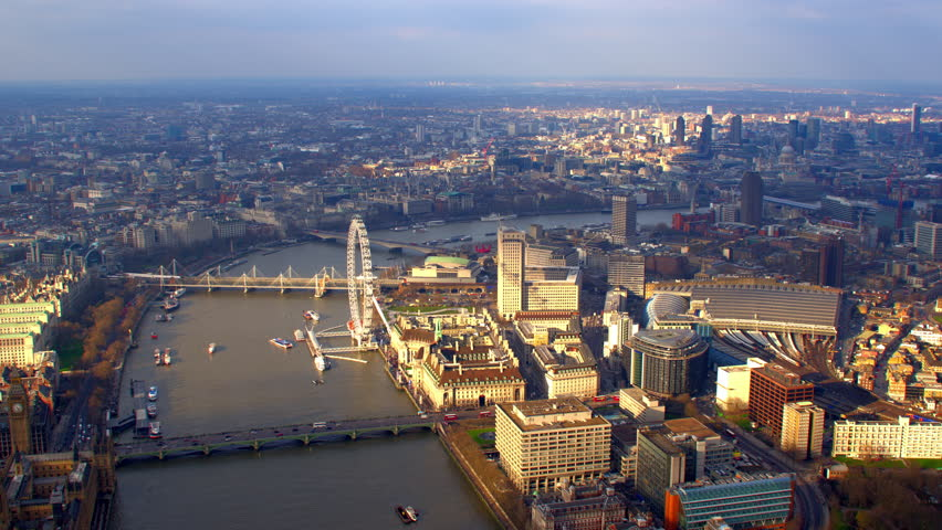 4K Aerial shot of Central London with view of the River Thames, London Eye, Waterloo Station, St Paul's Cathedral, Southbank Centre