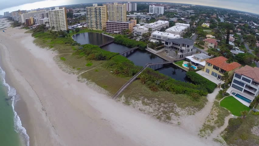 Aerial footage of Pompano Beach Florida