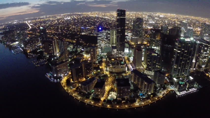 Aerial video footage of Brickell Miami at night | Shutterstock HD Video #5536649