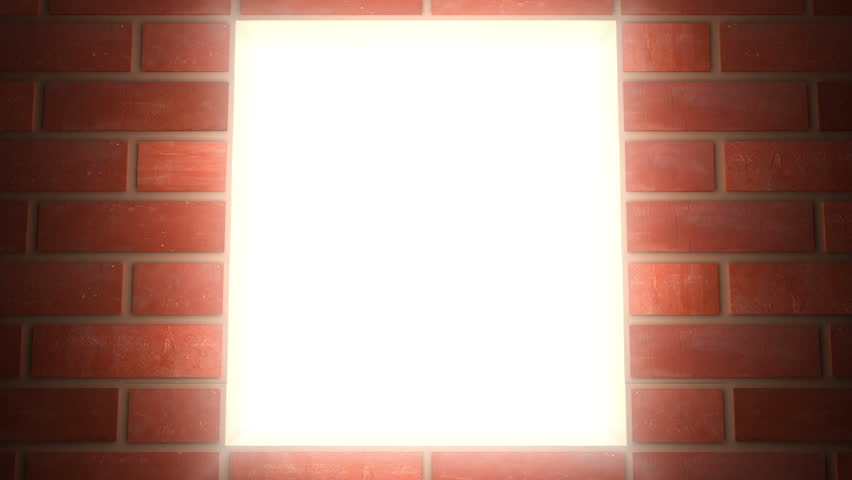 Building wall of red bricks . Conceptual 3d animation. The wall closes light in window