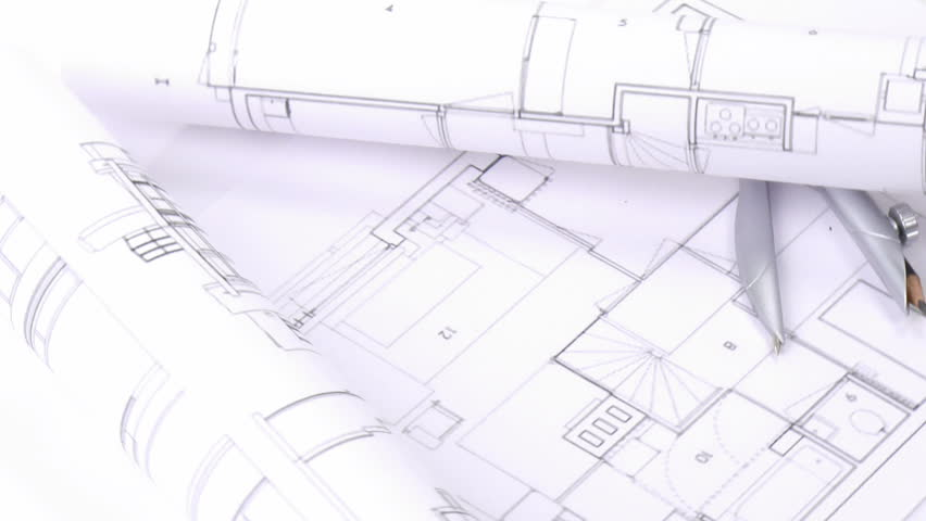 Architecture house plan background blueprint animation writing on high view of plans and blueprints turning hd stock footage clip malvernweather Images