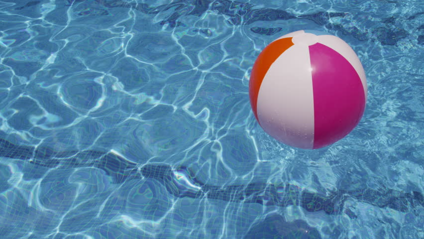 pool water with beach ball. Colorful Beach Ball Floating In Pool. Shot On RED EPIC For High Quality 4K, Pool Water With